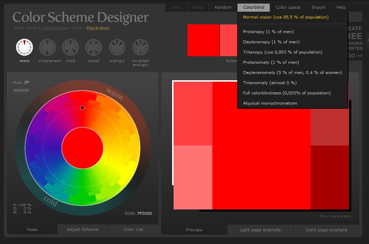 Colour blindness view - Color Scheme Designer 3